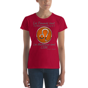 T-Shirt Femme Zodiaque-t shirt femme astrologique-signe astral-horoscope-LION-rouge-FunriesOne