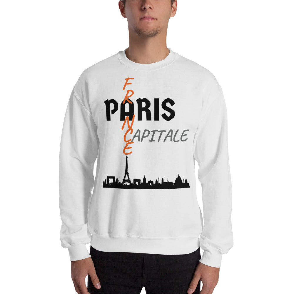 Sweat Homme personnalisé-Paris-capital-France-blanc-Vetements-funriesone
