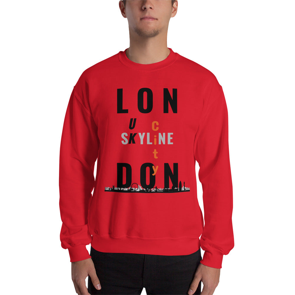 T-Shirt Homme-Londres-london-United Kingdom-UK-City-angleterre-sky line-big Ben-cadeau-tee shirt-message-rouge-vêtement-funriesone