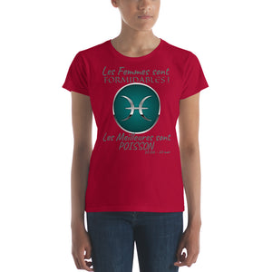 T-Shirt Femme Zodiaque-t shirt femme astrologique-signe astral-horoscope-POISSON-rouge-FunriesOne