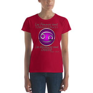 T-Shirt Femme Zodiaque-t shirt femme astrologique-signe astral-horoscope-CANCER-rouge-FunriesOne