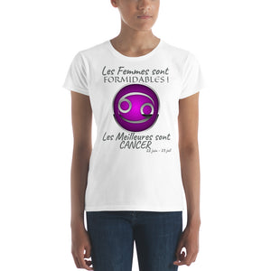 T-Shirt Femme Zodiaque-t shirt femme astrologique-signe astral-horoscope-CANCER-blanc-FunriesOne