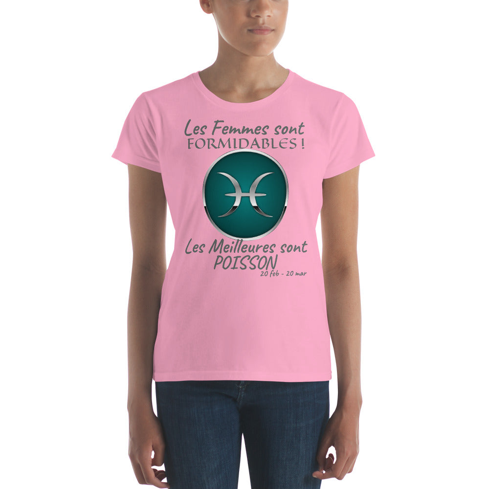 T-Shirt Femme Zodiaque-t shirt femme astrologique-signe astral-horoscope-POISSON-rose-FunriesOne