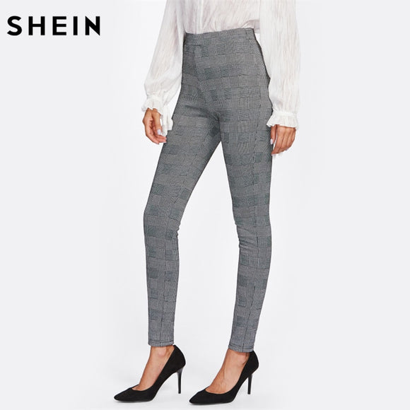 f662b0d3f8610 SHEIN High Waisted Pants Autumn Elegant Trousers Women Grey Plaid Stretchy Pants  Ladies Elastic Waist Skinny