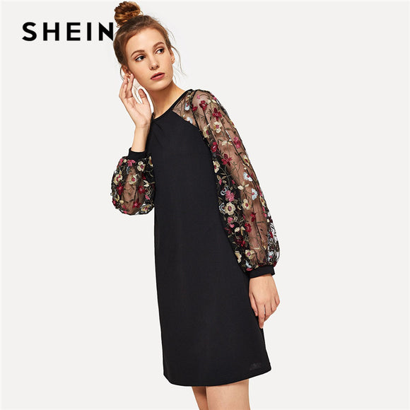 e6dac8d17617 SHEIN Weekend Casual Modern Lady Black Flower Embroidered Mesh Contrast  Long Sleeve Short Dress Women Autumn