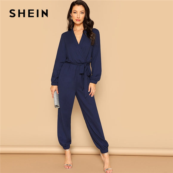 6b50f1f74c SHEIN Navy Plain Surplice Wrap Plunging Belted Jumpsuit 2019 Women Spring  Casual Deep V Neck Long
