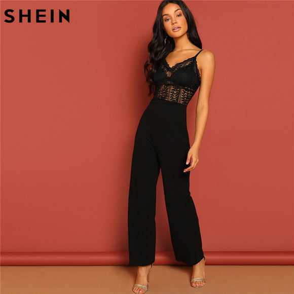 6c900d1f7f SHEIN Black Lace Hollow Jumpsuit Sexy Spaghetti Strap Sleeveless Women  Summer Maxi Party Jumpsuits Night Out