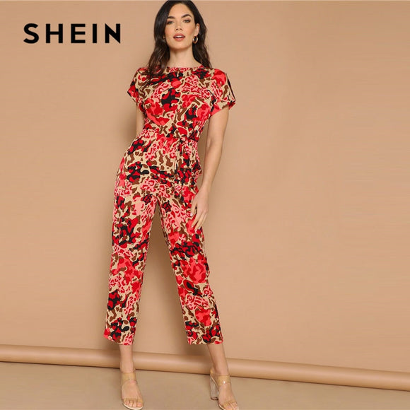 54f3d6257d SHEIN Lady Highstreet Rolled Up Sleeve Knot Front Leopard Print Jumpsuit  Women Summer High Waist Casual