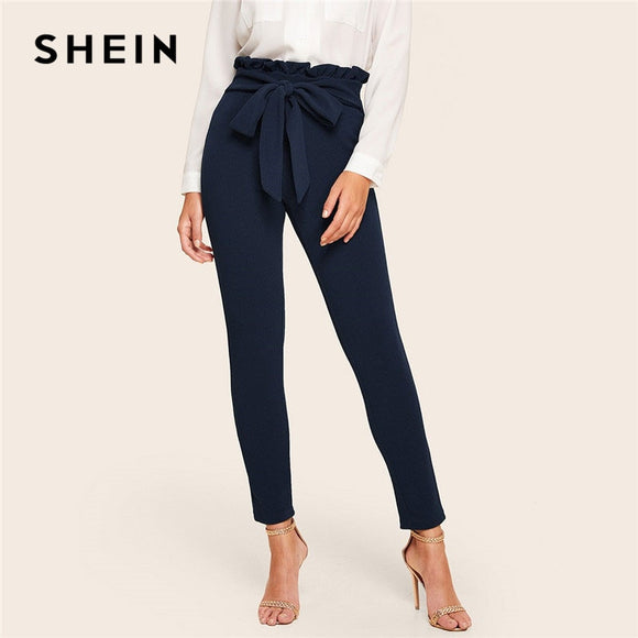 99771d54c08f SHEIN Navy Elegant Paperbag Waist Belted Detail Solid High Waist Pants Women  Fashion Frill Trim Elastic