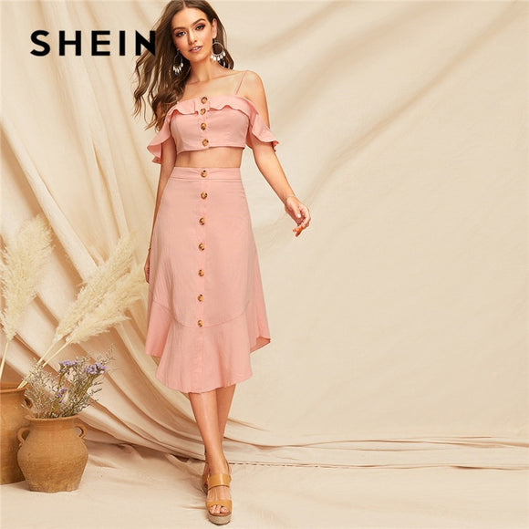 ed2e937bc280aa SHEIN Pink Glamorous Ruffle Trim Cami Crop Top And Buttoned Curved Hem  Skirt Set Summer Vacation
