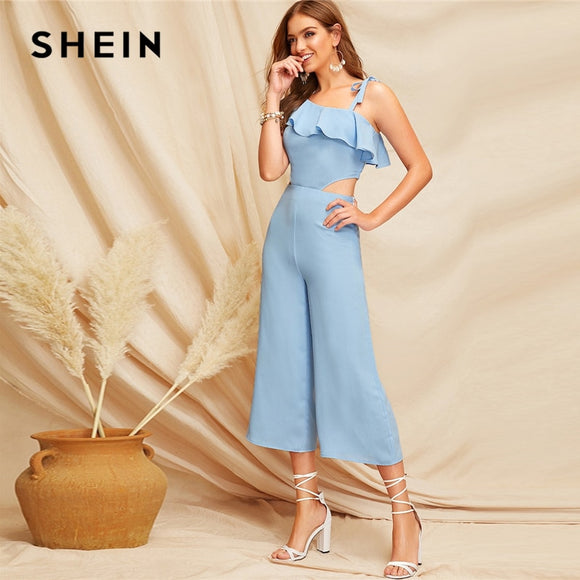 b5fd3ab60 SHEIN Glamorous Blue Ruffle Detail Cutout One Shoulder Knot Zipper Jumpsuit  Spring Women Mid Waist Modern