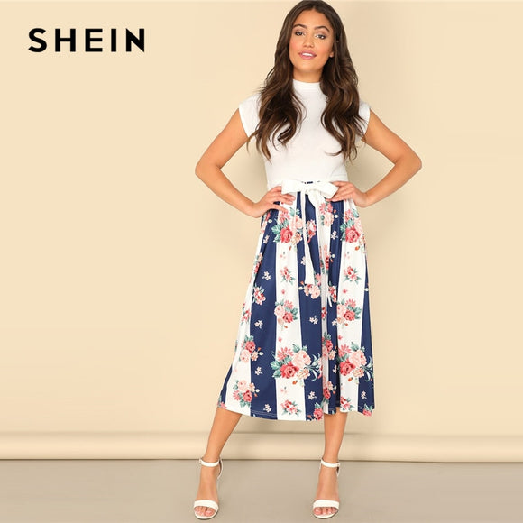 43e7214433 SHEIN Multicolor Mock-neck Knot Color-block Floral Dress 2019 Spring Fit  And Flare