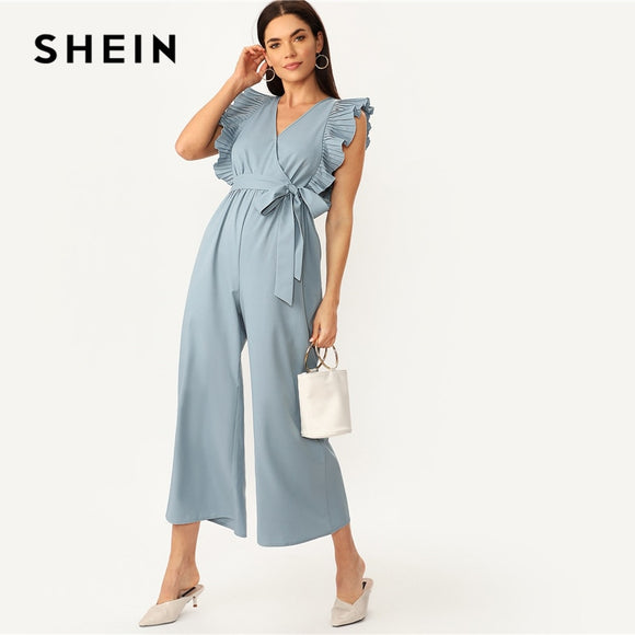 f36e3a6f2e690d SHEIN Elegant Blue V Neck Pleated Ruffle Trim Wrap Wide Leg Belted Party  Jumpsuit Women Summer