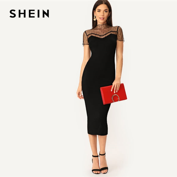a372cc19f3 SHEIN Black Striped Mesh Yoke Pencil Straight Plain Dress Women Casual 2019  Summer Morden Lady Stand
