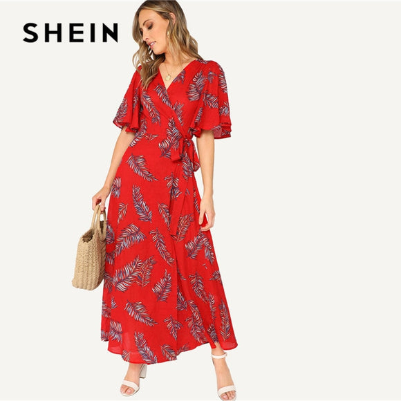 3250e6c018 SHEIN Red Surplice Wrap Knot Leaves Print Summer Dress Women Boho Vacation  Casual V Neck Half