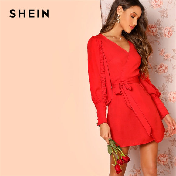 6cad65a23c SHEIN Frilled Bishop Sleeve Belted Wrap Ruffle Dress Elegant Women 2019  Solid Spring Autumn V Neck