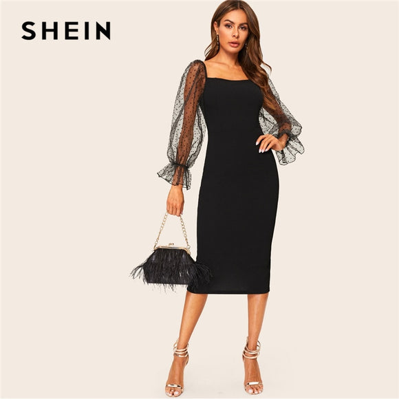 67f920a15a7c7 SHEIN Sexy Black Dot Mesh Flounce Lantern Sleeve Bodycon Pencil Dress Women  2019 Elegant Solid Spring