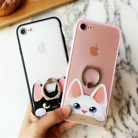 Cute Cat Iphone case + Ring support