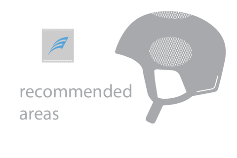 Recommended Areas for Placing Mount on Helmet