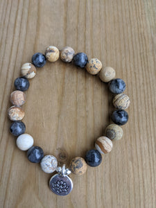 Picture Jasper, Howlite and Labradorite with Lots Charm
