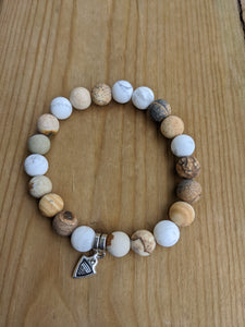 Picture Jasper and Howlite with Dart Charm