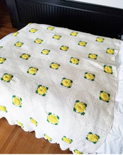 Cotton Yellow Flower Bed Coverlette
