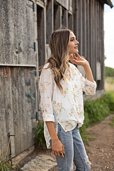 Olive Hill - Top - floral embroidered accents