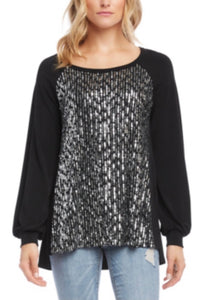 Karen Kane Sequin Blouson-sleeve Top in Black