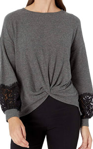 Karen Kane Lace sweater with twist-front
