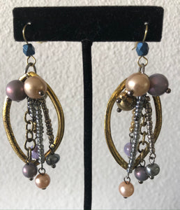 Treska Earrings - multi colored beads and goldlike oval loops