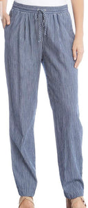 Karen Kane Drawstring Pants - Striped Blue-white