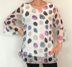 Shana - Ruffle Top - white and pastel color dots