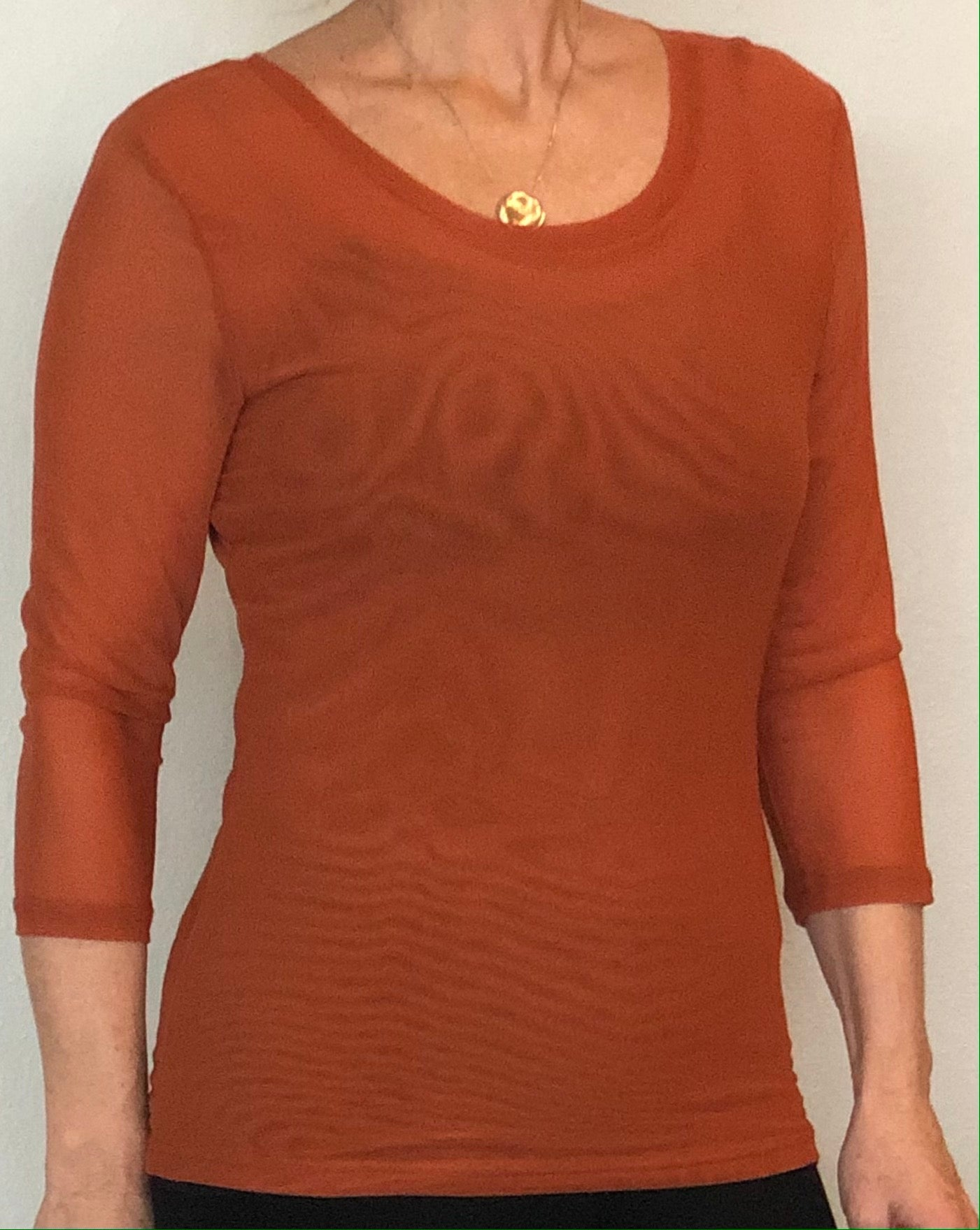 Adore - Top - rust color - sheer sleeves