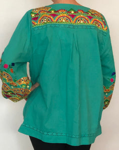 ANU - Embroidered Blouse - Aqua color