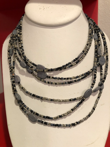 Multistring Necklace with small Beads and flat stones