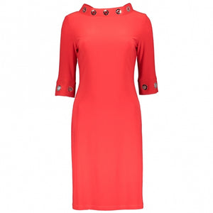 Joseph Ribkoff - Three Quarter Sleeve Eyelet Dress - Red
