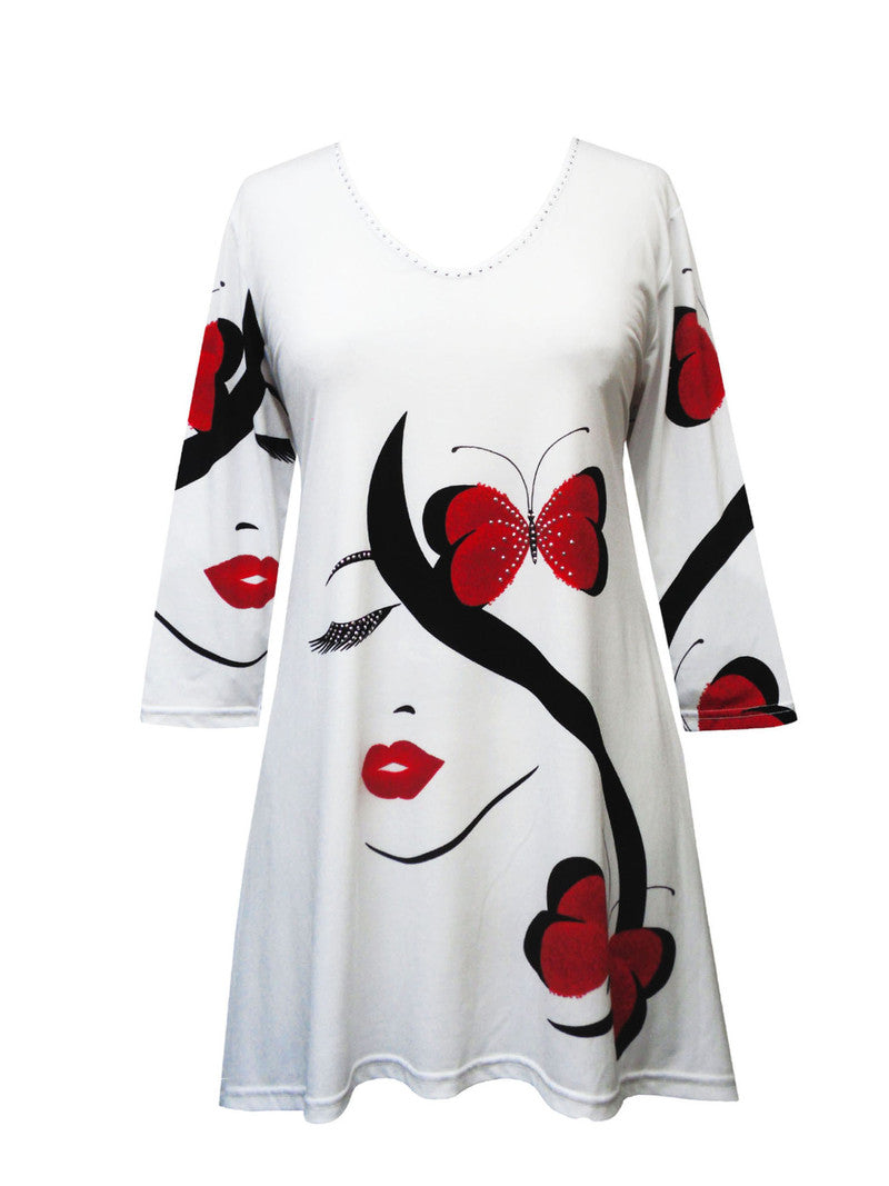 Valentina - Top - Signa Red Lips and Butterflies
