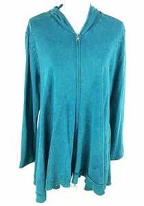 Jess & Jane Mineral Wash Zip Up Hoodie - Teal