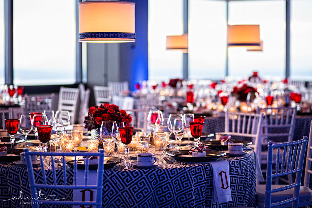 Photo Credit Alante Photography, Columbia Tower Club Seattle Lighting, Wireless Lamp Shades, LightSmiths Seattle, Event Lighting