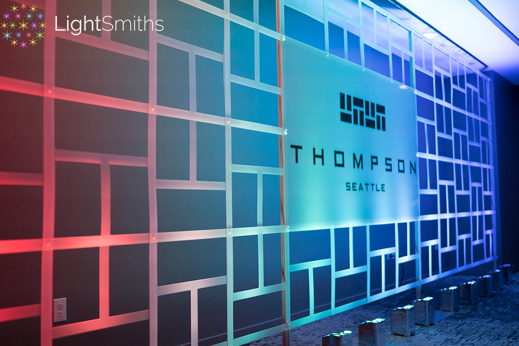 Thompson Hotel Seattle Lighting, The Nest Lighting, Event Lighting, Wedding Lighting, SnapDrop Backdrop