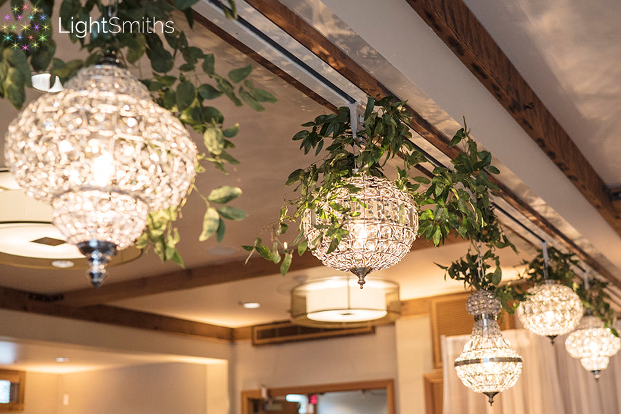 Willows Lodge Lighting, Wireless Crystal Chandeliers, Woodinville Weddings, Event Lighting Seattle