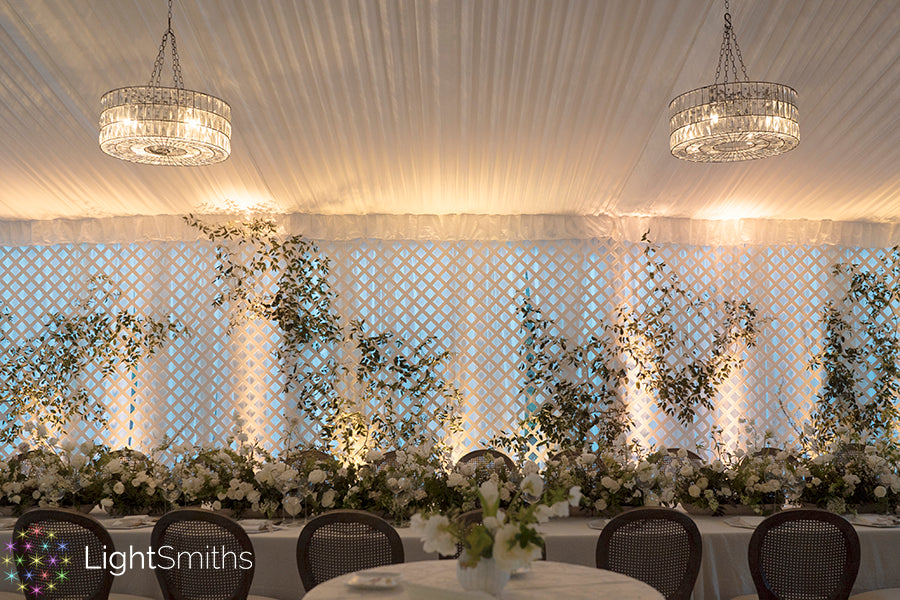 Chateau Lille Event Lighting, LightSmiths Wedding Lighting, Wireless Crystal Chandeliers