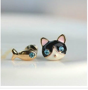 Blue Crystal  Cat And Fish Asymmetric Earring