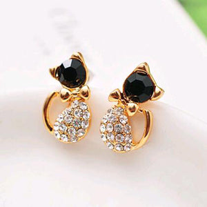 Meow Meow CastleRhinestone Cat Couple Stud EarringsEarrings - Meow Meow Castle