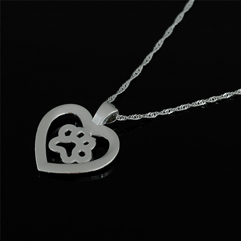 Meow Meow CastleCrystals Heart Paw Print Pendant NecklaceNecklace - Meow Meow Castle