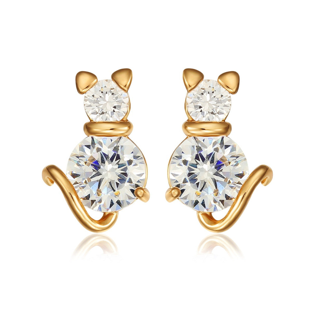 Meow Meow CastleGold Kitty Cat Stud EarringsEarrings - Meow Meow Castle