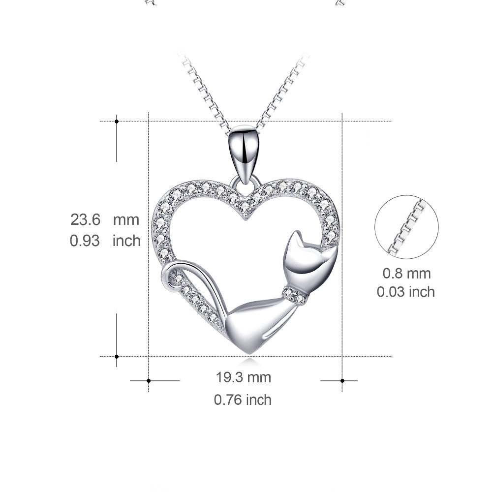 Meow Meow CastleSilver Crystal Love Heart Cat Pendants NecklaceNecklace - Meow Meow Castle
