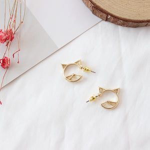 Hollow Cat Stud Earrings