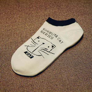 cartoon cute cat face thin women's cotton socks