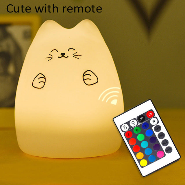 Meow Meow CastleColorful Cat Silicone LED Night LampGadget - Meow Meow Castle